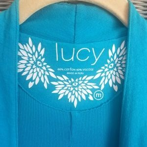 LUCY Bright Blue Long Open Yoga Cardigan